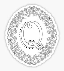 Letter Q Black And White Wreath Monogram Initial Sticker