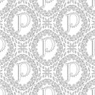 Letter P Black And White Wreath Monogram Initial by theartofvikki