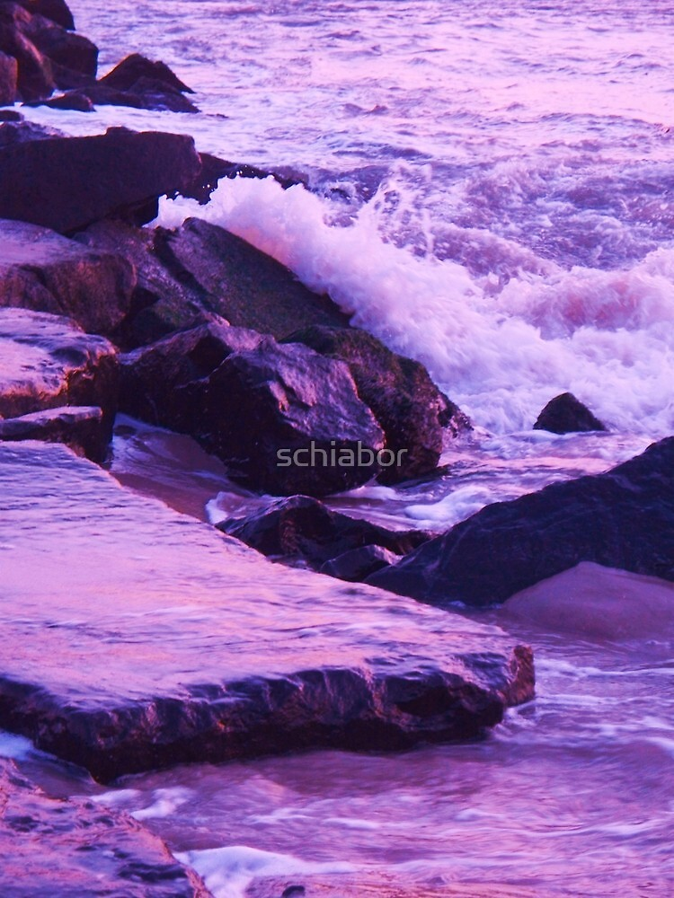 Wave  Breaking  on Jetties at Cape May NJ by schiabor