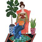 Cat lady reading by zsalto