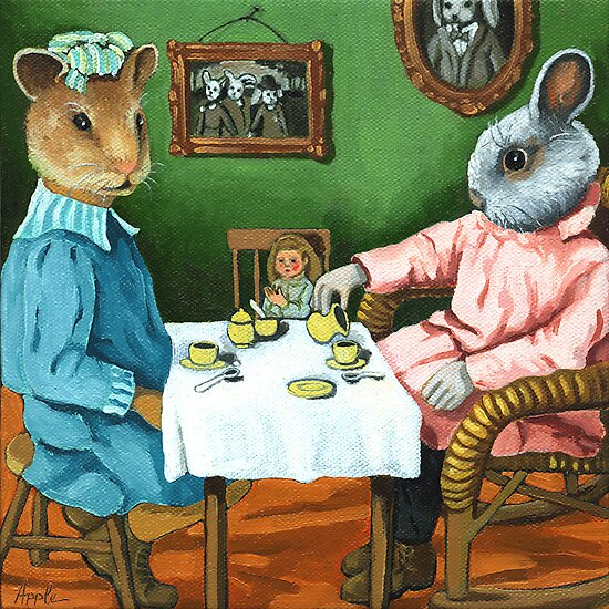 The Tea Party by LindaAppleArt