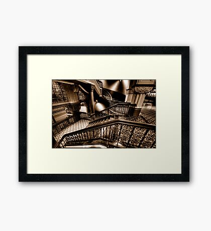 Over The Rails  (Sepia)- QVB Building , Sydney - The HDR Experience Framed Print