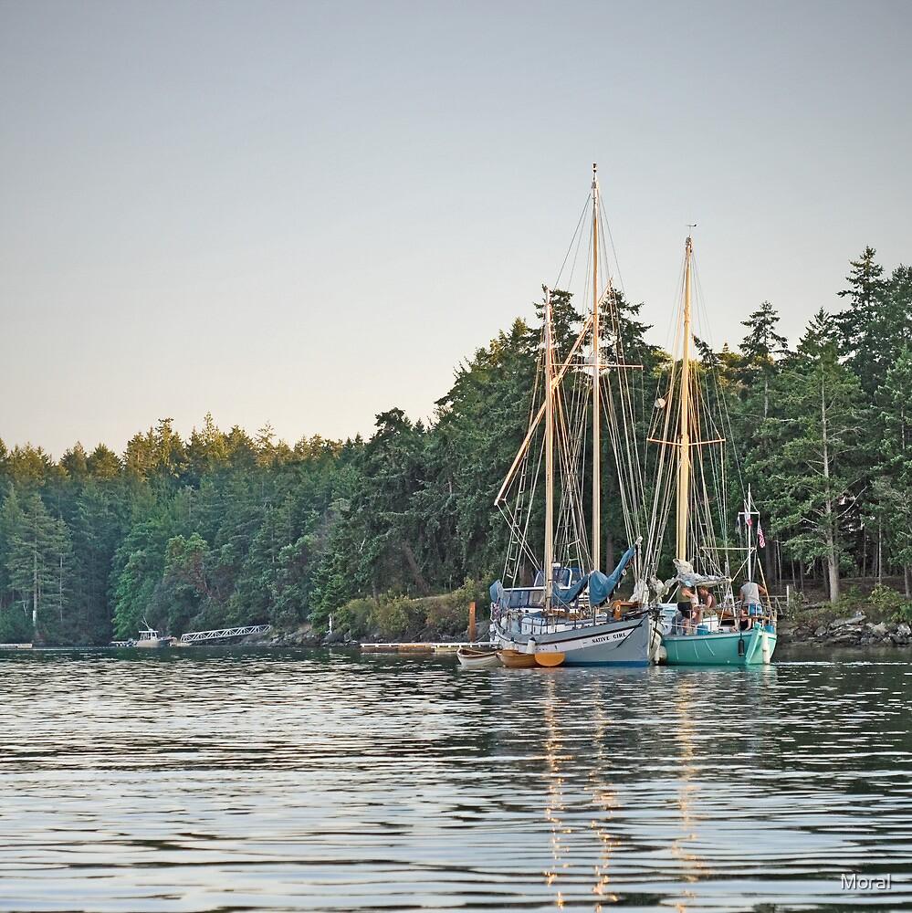 Sombrio and Native Girl at anchor, Silva Bay, Gabriola Island, BC by Ryan Watts