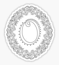 Letter O Black And White Wreath Monogram Initial Sticker