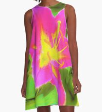 Dramatic Deep Pink and Yellow Lily on Green A-Line Dress