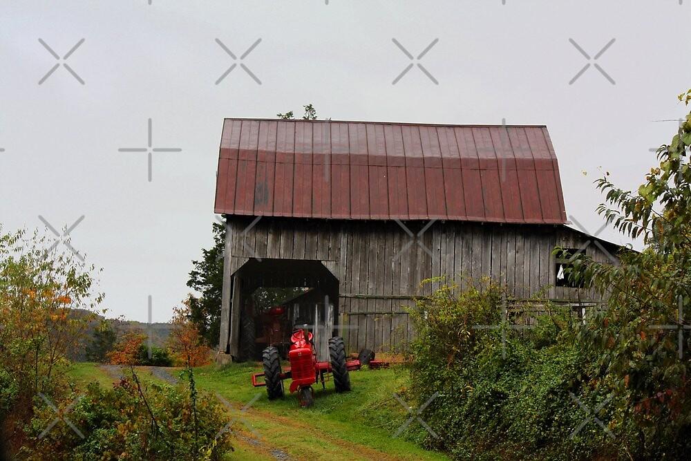 Barn and Tractor in Hayters Gap, Virginia  by Linda Costello Hinchey