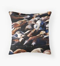 Band of Sea Lions Throw Pillow