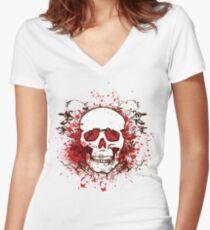 Grunge Skull  Women's Fitted V-Neck T-Shirt