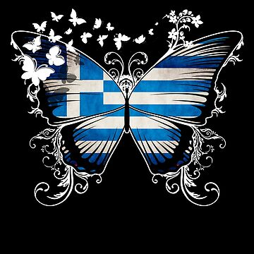 Greece Flag Butterfly Greek National Flag DNA Heritage Roots Gift  by nikolayjs
