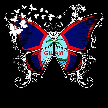 Guam Flag Butterfly Guamanian National Flag DNA Heritage Roots Gift  by nikolayjs