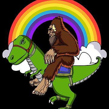 Bigfoot Riding T-Rex Dinosaur Funny Rainbow by underheaven