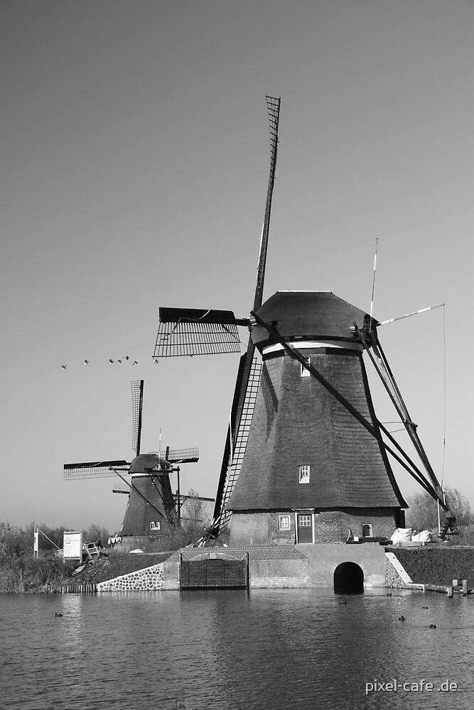 Mills in Kinderdijk near Rotterdam, NL b/w by pixel-cafe .de