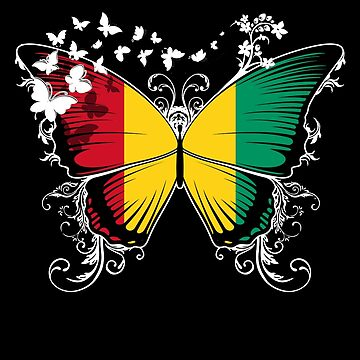 Guinea Flag Butterfly Guinean National Flag DNA Heritage Roots Gift  by nikolayjs