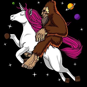 Bigfoot Riding Unicorn Funny Space by underheaven