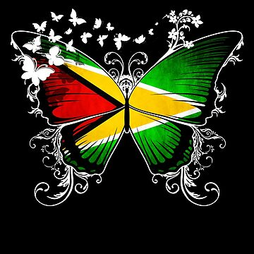 Guyana Flag Butterfly Guyanese National Flag DNA Heritage Roots Gift  by nikolayjs