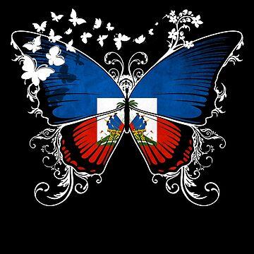 Haiti Flag Butterfly Haitian National Flag DNA Heritage Roots Gift  by nikolayjs