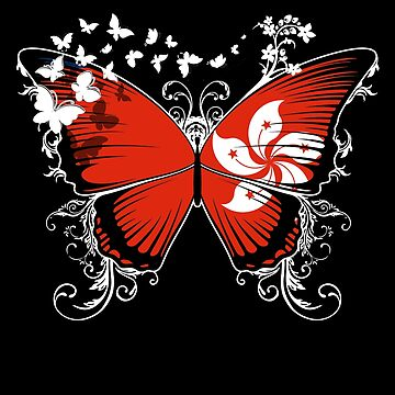 Hong Kong Flag Butterfly Hong Konger National Flag DNA Heritage Roots Gift  by nikolayjs