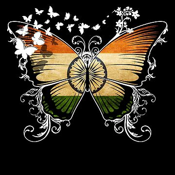 India Flag Butterfly Indian National Flag DNA Heritage Roots Gift  by nikolayjs