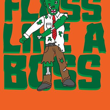 Halloween Scary Cool Zombie Floss Like A Boss Art Gift by melsens