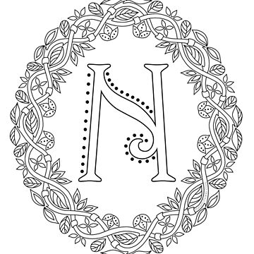 Letter N Black And White Wreath Monogram Initial by theartofvikki