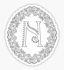 Letter N Black And White Wreath Monogram Initial Sticker