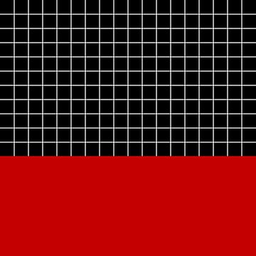 White Grid On Black Above Cherry Red by rewstudio