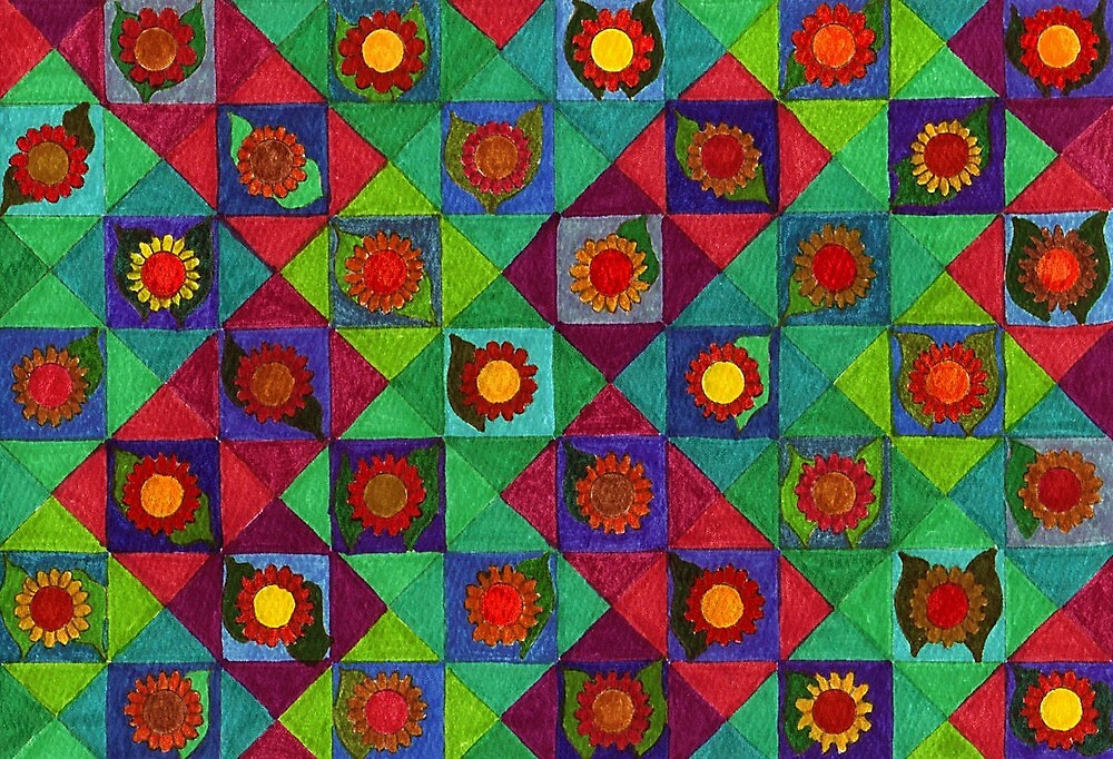 Abstract Art Study - Flowers In Diamonds by Oldetimemercan