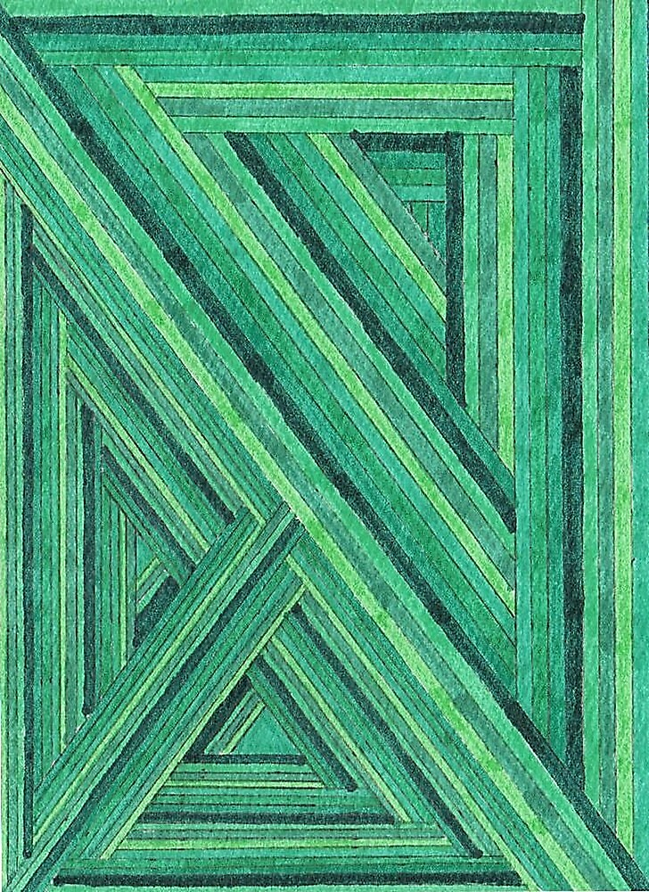 Abstract Art Study - Green Stripes by Oldetimemercan
