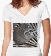 Raton laveur T-shirt col V femme