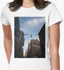 #sky, #architecture, #business, #city, #outdoors, #technology, #modern, #vertical, #colorimage, #NewYorkCity, #USA, #americanculture Women's Fitted T-Shirt