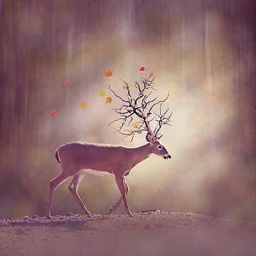 Autumn tree horn deer in the woods by svetlanna
