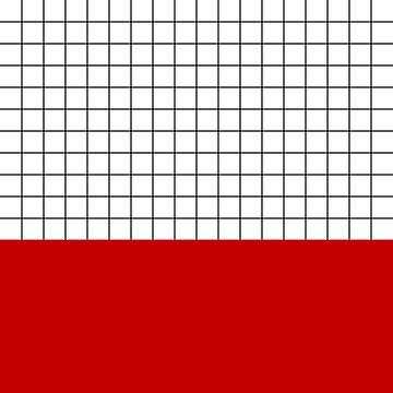 Black Grid On White Above Cherry Red by rewstudio