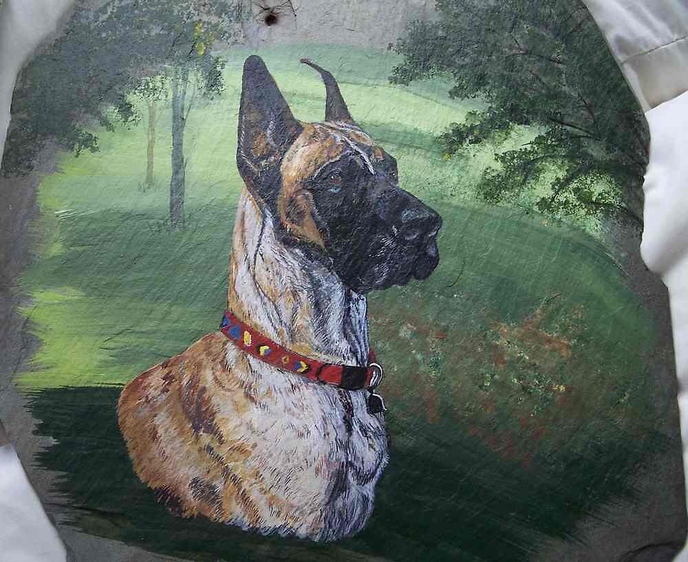 Great Dane Portrait on Slate by PetRockGal