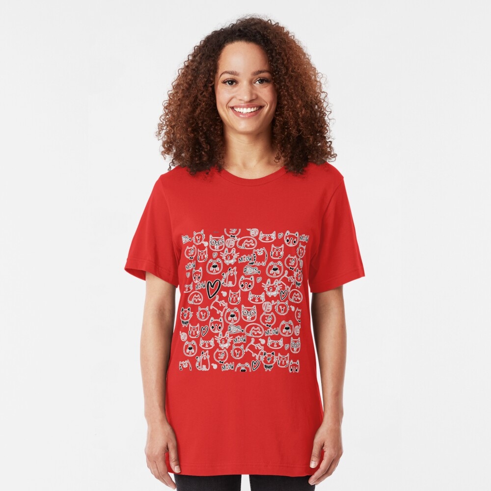 Meow Cats Slim Fit T-Shirt
