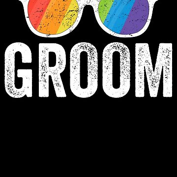 Groom LGBT Pride Shirt Rainbow Flag Sunglasses Bachelor Gift by 14thFloor