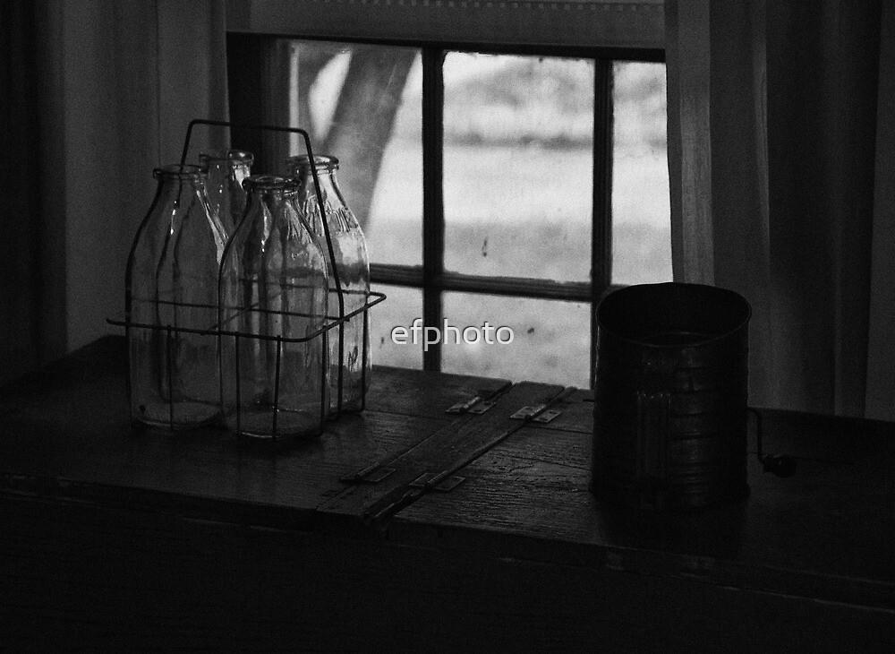 Old Glass Milk Bottles by efphoto