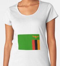 Flagge von Sambia Premium Rundhals-Shirt