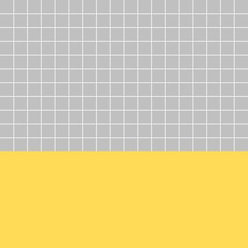 White Grid On Silver Gray Above Mustard Yellow by rewstudio