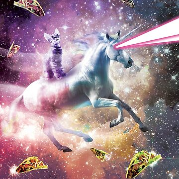 Space Cat Riding Unicorn - Laser, Tacos And Rainbow by SkylerJHill