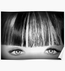 Blue Eyes Pencil Drawing in Black and White  Poster