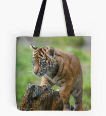 Sumatran Tiger Cub Playing Tote Bag