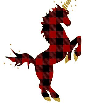 Red Buffalo Plaid Unicorn Christmas for Kids and Mom by Tetete