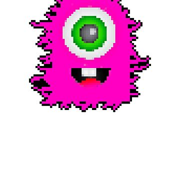Cute Pink One Eyed Monster | 8 Bit Pixel Art by ctaylorscs