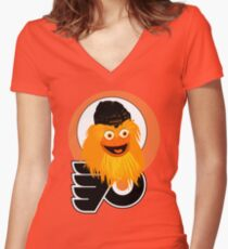 The head of mascot Gritty the Flyers Women's Fitted V-Neck T-Shirt