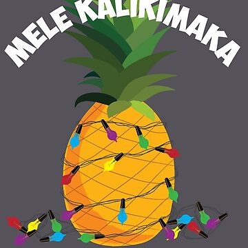 Mele Kalikimaka Art   Hawaiian X-Mas Pineapple Lights Gift by NBRetail
