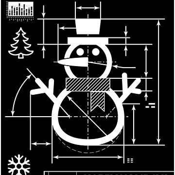 Snowman blueprint | Christmas winter gift by anziehend