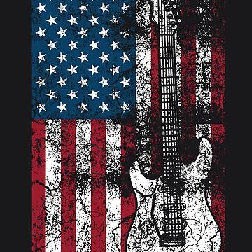 Guitar USA Flag Art   Cute Patriotic Guitar Lovers US Gift by NBRetail