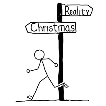 Funny Reality vs Christmas Themed Design by EireShirts