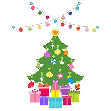 New Year decorated Christmas tree, gifts, garlands by aquamarine-p