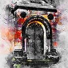 Old door Watercolor art/ Black and white  by Nora Gad